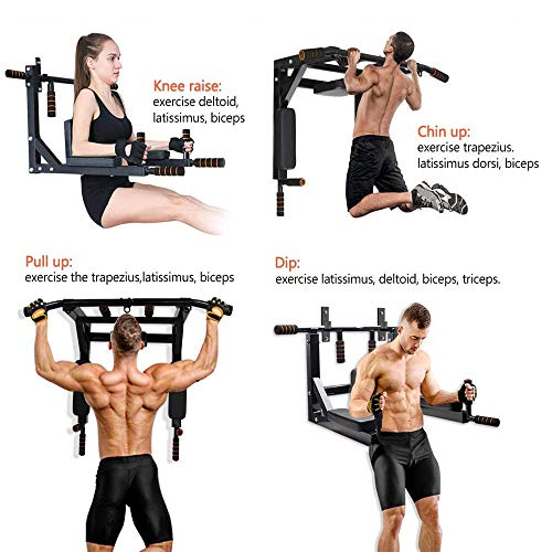 Product Image 2: ANTOPY Wall Mounted Pull Up Bar Dip Station 2 in 1 Multifunctional Home Gym Workout Equipment Multi Grip Heavy Duty Chin-Up Fitness for Strength Training Supports to 440lbs