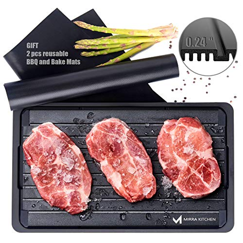 Extra Thick Fast Defrosting Tray - Dishwasher Safe Large Thawing Plate with Drip Tray Set - Non-Stick Coated Thawing Board for Frozen Meat and Food - No Plug Natural Defrost Miracle Thaw Master Mat