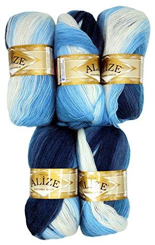 Alize 5 x 100 g Strickwolle Mehrfarbig mit Farbverlauf, 500 Gramm Strickgarn mit 20% Wolle-Anteil (blau weiß 1899)