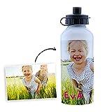 Fotoprix Botella de agua para niños personalizada con foto y nombre. Cantimplora infantil de acero inoxidable. Botellín de aluminio de 500 ml para guarderías