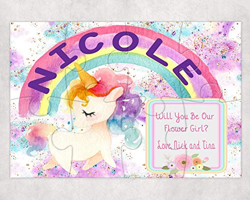 Pretty Phoxie Flower Girl Proposal Puzzle - Will You Be My Flower Girl - Custom Puzzle - Unicorn Flower Girl Puzzle