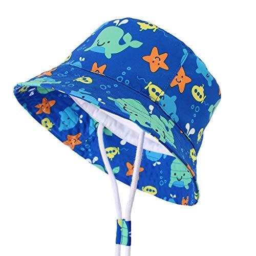 CAMLAKEE Cappelli estivi per bambini, Cappello da sole neonato mare regolabile cappellino pescatore da spiaggia Squalo 50cm/1-2 anni