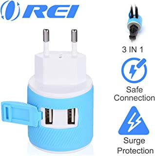 European Travel Plug Adapter with Dual USB + Surge Protection - for Most of Europe - Type C (U2U-9C), Will Work with Cell Phones, Camera, Laptop, Tablets, iPad, iPhone and More