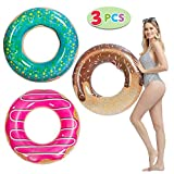 "JOYIN Donut Pool Float with Glitters 32.5"" (3 Pack), Funny Pool Tube Toys for Swimming Pool Party and Donut Party Decorations"