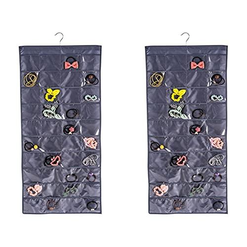 Honton 2 bolsas de almacenamiento colgantes para colgar organizador de bolsillo bolsa de almacenamiento a prueba de polvo impermeable para baño baño baño, gris profundo