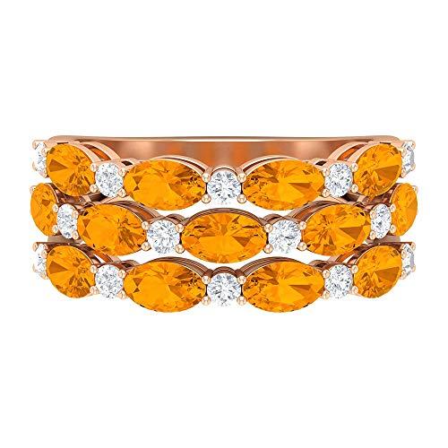 Anillo de boda de zafiro naranja de 4 CT creado en laboratorio con detalles de moissanita (calidad AAAA), 14K Oro rosa, Size:EU 54