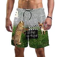 ビーチショーツメンズ サーフスイムトランクス M,猫の沈黙はすべての犬が愚かであってください