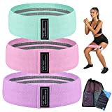 2021 WINHI New Resistance Bands Set with 3 Resistance Levels,Workout Exercise Bands for Legs, Hips, Thigh and Squats,Non-Slip Fabric Resistance Loop Bands with Carrying Bag