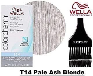Wella COLOR CHARM Permanent LIQUID HAIR TONER (w/Sleek Tint Brush) Haircolor Liquifuse, 1:2 Mix Ratio Hair Color DYE (T14 Pale Ash Blonde.)