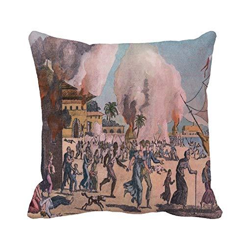 N\A Throw Pillow Cover The Massacre of French Colonists and Burning Cap Funda de Almohada Francais Funda de Almohada Cuadrada Decorativa para el hogar Funda de cojín
