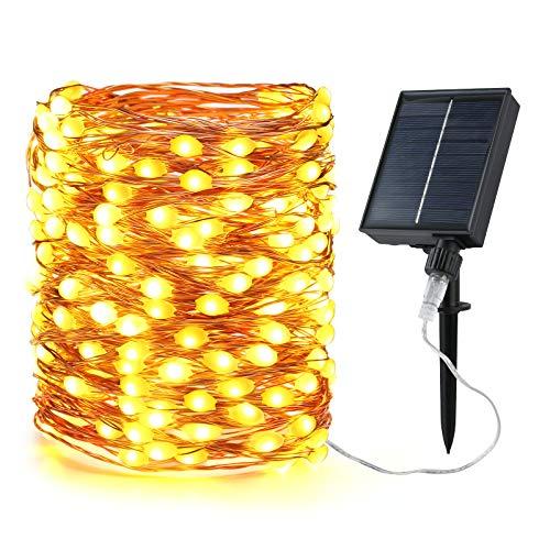 Solar Lichterkette Aussen, BrizLabs 20M 200 LED Kupferdraht Lichterkette Außen (Verbesserte Übergroße Lampenperlen) IP65 Wasserdicht 8 Modi Beleuchtung Deko für Garten...