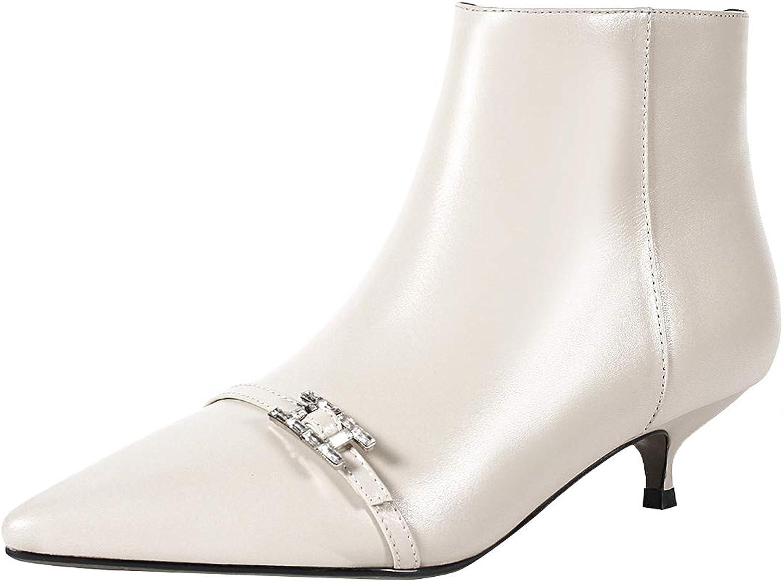 Jushee kvinnor Juangry 3.5 3.5 3.5 cm Low Heel Ankle Zipper läder stövlar  låga priser