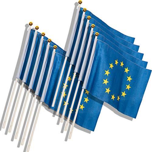 Ensemble de 12 Set Europe Flag with Rod Flag Europe European Union Flags Europe EU Flag Stars (14 x 21 cm 12 pièces)
