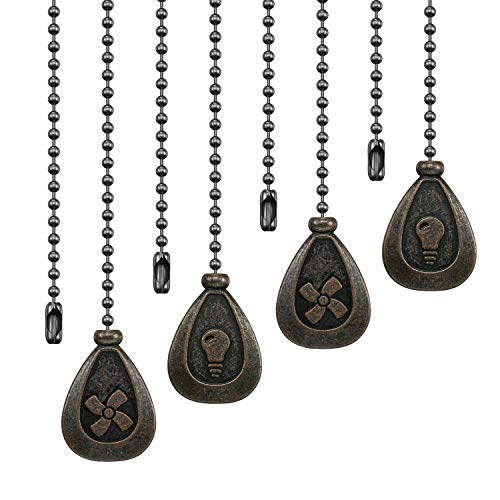 Ceiling Fan Pull Chains - 4 Pieces Bronze Extension Fan, Lighting, Fan, Lamp Pull Chain Decorative Extender Ornament 12 Inch in Length, with 3 mm Diameter Beaded Ball Fan Chain Connector(Black Copper)