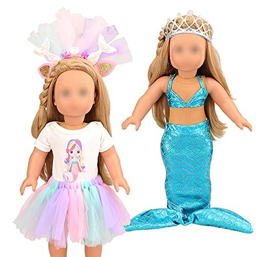 Miunana Mermaid Clothes Outfits Headband Crown fit 18 inch Girl...