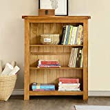 Oak Small Bookcase Solid Hardwood Bookshelf Fully Assembled 3 Tiers Book shelf W20' x D9' x H33' in