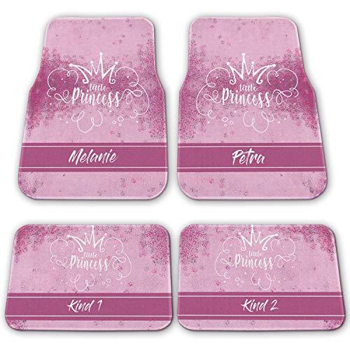 Princess Krone Autofußmatten Automatte - individuell personalisiert 2er-Set-hinten rosa