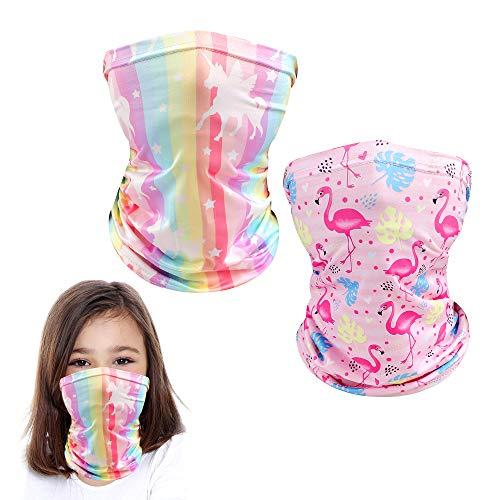 Kids Neck Gaiter Mask Toddler Gator Face Coverings Bandanas Tube Headwear Outdoor 3-10 Years Old Boys Girls School Sport Fishing Masks Reusable (Unicorn+Flamingo)