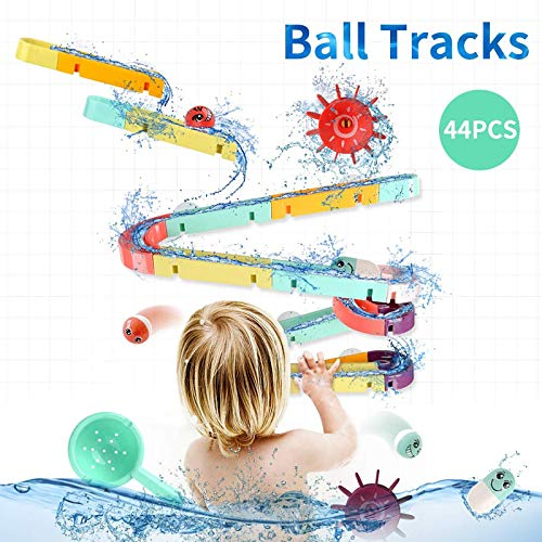ELOT Bath Toys Slide Splash Water Ball Track Stick to Wall Bathtub for Toddlers DIY Waterfall Pipe and Tubes Tub Toys with Suction Wheels Gift for Kids Boys Girls Age 3 4 5 6 7 Years Old