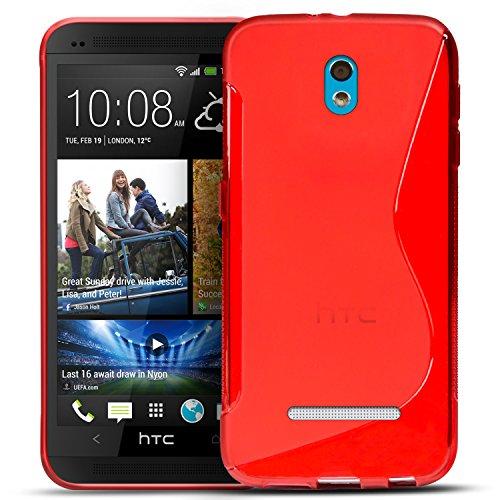 Conie SC5066 S Line Hülle Kompatibel mit HTC Desire 500, TPU Smartphone Hülle Transparent Matt rutschfeste Oberfläche für Desire 500 Rückseite Design Rot