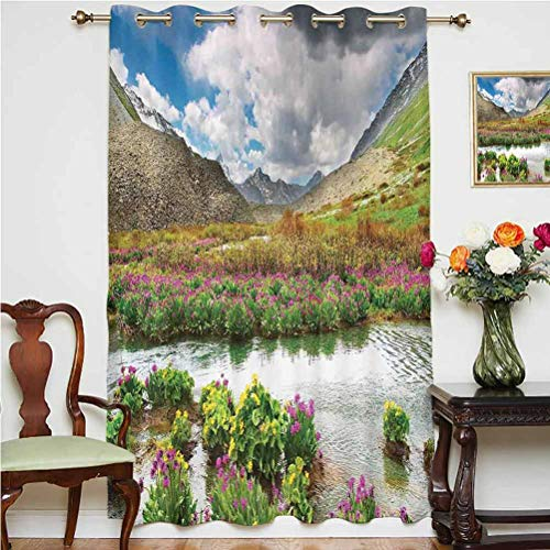 Highlands Nature Landscape Sliding Door Curtain Mountain Valley With Blooming Flowers Springtime Flora Thermal Backing Sliding Glass Door Drape ,Single Panel 52x63 inch,for Bedroom