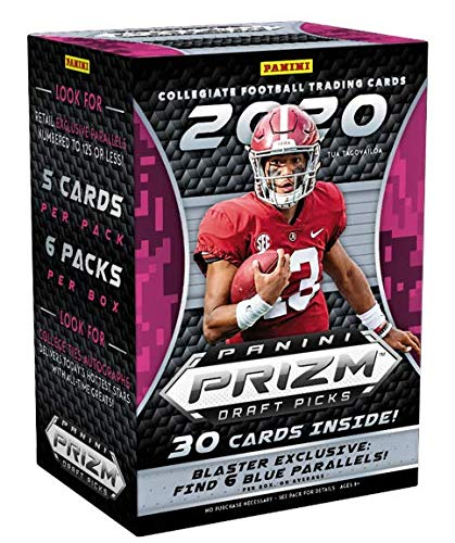 2020 Panini Prizm Draft Picks Football NFL Trading Cards Blaster Box- 6 Blaster Exclusive BLUE Parallels - 30 Cards - Find First Prizm JOE BURROW Rookie Cards!