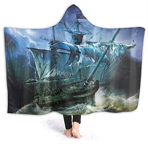 HATESAH Tragbare Hoodie Decke,Pirate Ghost Ship Kreativ,Umhang Druck Grafik warm...