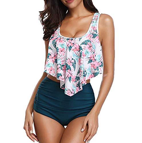 YWLINK Damen Bikini Set Vintage Bademode Ruffles Strap Badeanzug High Waist Bademode Zweiteilige Strandkleidung Blumendruck Bikini Oberteil Und Blau Bikinihose Swimsuit(XL,Blau)