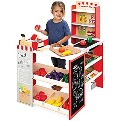 Best Choice Products Pretend Play Grocery Store Wooden Supermarket Toy Set for Kids w/ Play Food, Chalkboard, Cash Register, Working Conveyor from Best Choice Products