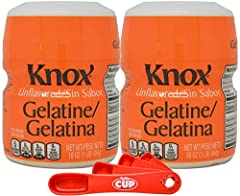 By The Cup Clear Unflavored Gelatine Powder and Measuring Spoon Bundle 2 - 16 Ounce containers of Kraft Heinz Knox Unflavored Gelatine Powder 1 - By The Cup Red Swivel Measuring Spoon set 100% pure gelatine; contains no added sugar, artificial colors...