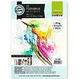 Vaessen Creative Florence Carta per Acquerello, Foglio A4, Bianco, 300 g/MG, Superficie Liscia, qualità Professionale, 10 Fogli per Pittura, Scrittura a Mano e Progetti Artistici
