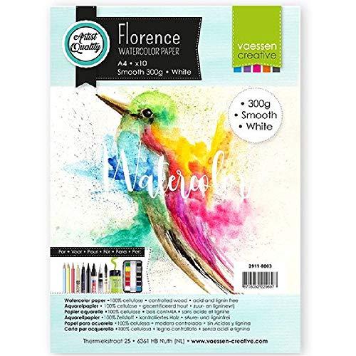Vaessen Creative 2911-8003 Florence Aquarellpapier A4 in Weiß, aus 300 g/m² Glattem Papier, 10 Blatt für Aquarellmalerei, Handlettering und Brush Lettering