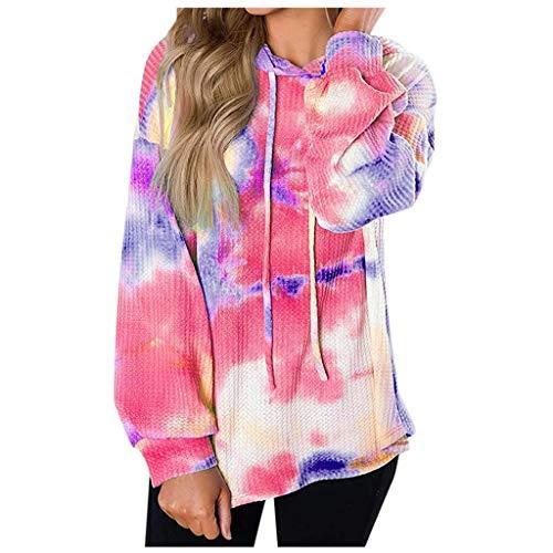 XXYsm Women's Tie-Dye Long Sleeve Hooded Loose Sweatshirt Drawstring Top