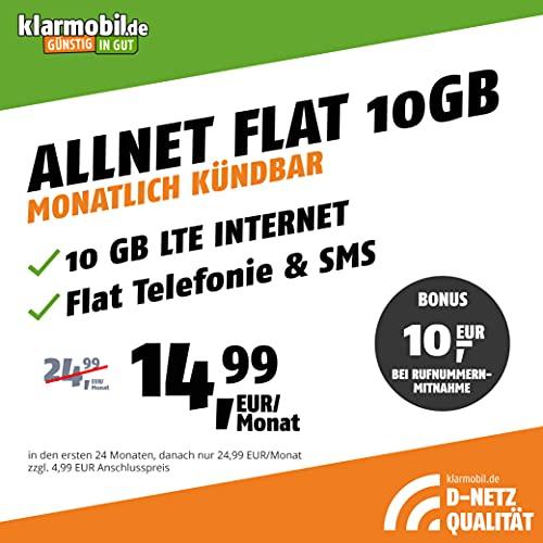 freenetMobile Handytrag D-Mesh Allnet Flat 10 GB – Internet Flat, Allnet Flat Telefonie & SMS till alla tyska nätverk, EU-roaming, kan annulleras varje månad