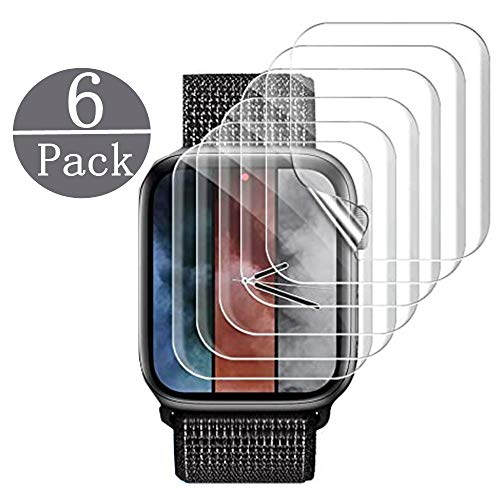 [6 Pack] Apple Watch Screen Protector 44MM PET, Kwbiw HD Screen Protector Anti-Bubble Scratch-Resistant Guard Cover 3D Hydrogel Protective Soft Film Apple Watch Series 4 44mm PET