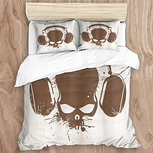 KISSENSU Bettbezug Bett, Totenkopf mit Aur...