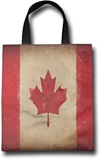 Ming Horse Retro Canada Flag Reusable Shopping Grocery Tote Bag Household