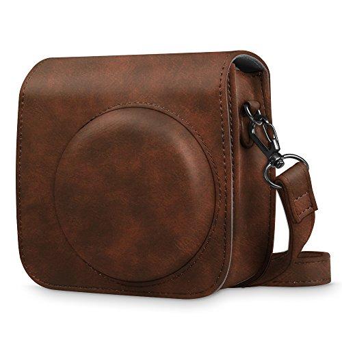 Fintie Tasche für Fujifilm Instax Mini 9 Mini 8+ Mini 8 Sofortbildkamera - Premium Schutzhülle Reise Kameratasche Hülle Abdeckung mit abnehmbaren Riemen, Braun