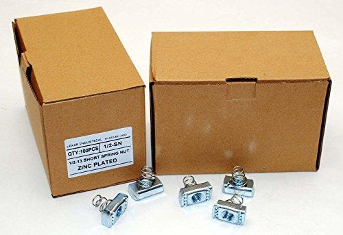 (100) Strut Channel Nuts 1/2-13 Short Spring Zinc Plated Unistrut Nut