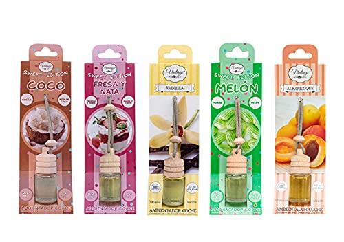 Pack 5 Ambientadores Colgantes Para Coche de 6,2ML Diferentes Olores. Coco, Melón, Vainilla, Albaricoque, Fresa y Nata.