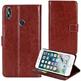 TienJueShi Brown Book-Style Flip Leather Protector Case
