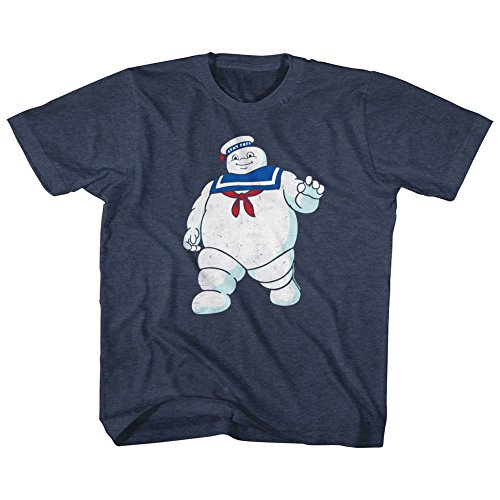 American Classics 'The Real Ghost-busters Animated TV Series' - Mr Stay Puft - Youth Boys T-Shirt - Navy, Medium