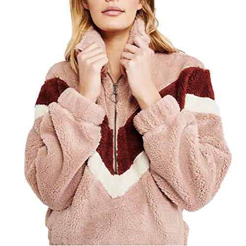 BIXUYAO Teddybär-Jacke/Sherpa Jacket Women Cardigan Warm Fluffy Fleece Tops Kunstlammfell-Jacke Geeignet Für Einkauf,Rosa,XL