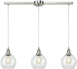 EUL Industrial Vintage Kitchen Island Lighting Clear Glass Globe Pendant Brushed Nickel -3 Lights