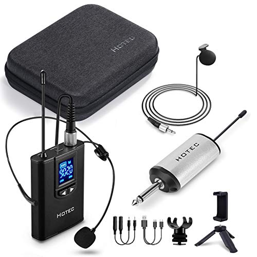Hotec Wireless Lapel Lavalier and Headset Microphone System with Mini Rechargeable Receiver, for Recording and Live Performances