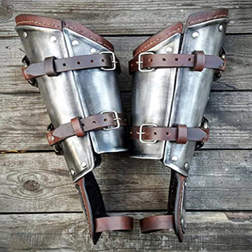ZJJ 2 Piezas De Brazalete Retro Steampunk Medieval PU Cuero Vintage Arm Guard Antebrazo Guantelete Pulsera Cosplay Armadura Accesorios De Vestuario para Mujeres Y Hombres