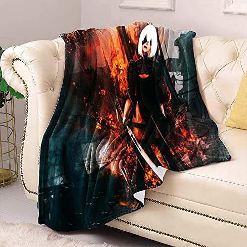 Mantas para Cama Nier: Automata Blankets King Size Anime Pattern 3D Print Super Soft Plush Cozy Luxury Warmth Mantas de Cama Otoño Invierno Primavera Verano 70.86 'X78.74 (180X200Cm)