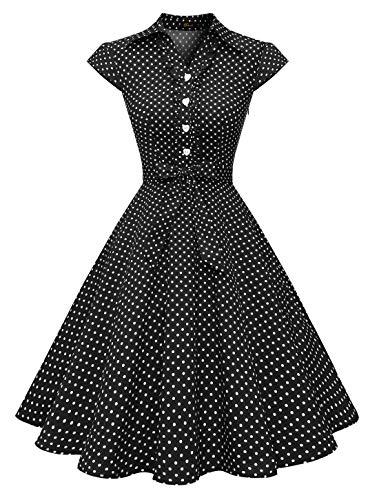 WedTrend Damen 50er Vintage Retro Rockabilly Swing Kleid Kurzer Ärmel Cocktailkleider WTP10007BlackWhiteDotM