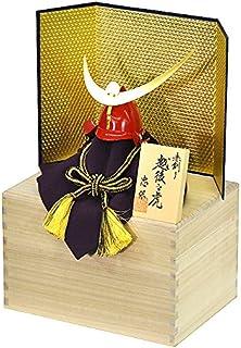 【五月人形】【コンパクトサイズ】兜飾り 上杉謙信公兜 桐箱入り金屏風セット 人形の平安大新 hm12040