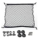 Techson Cargo Net with Hooks, Stretchable Elastic Nylon Storage Net, Heavy Duty Universal Rear Mesh Organizer for Truck Bed or Trunk (27.5 x 27.5 inches)